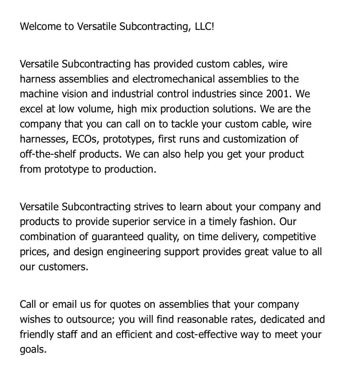 Versatile Subcontracting Website 1